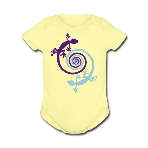 Baby Short Sleeve Gecko Spirals - Organic Short Sleeve Baby Bodysuit
