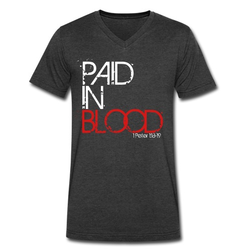 Paid In Blood Men's V-Neck Grey - Men's V-Neck T-Shirt by Canvas