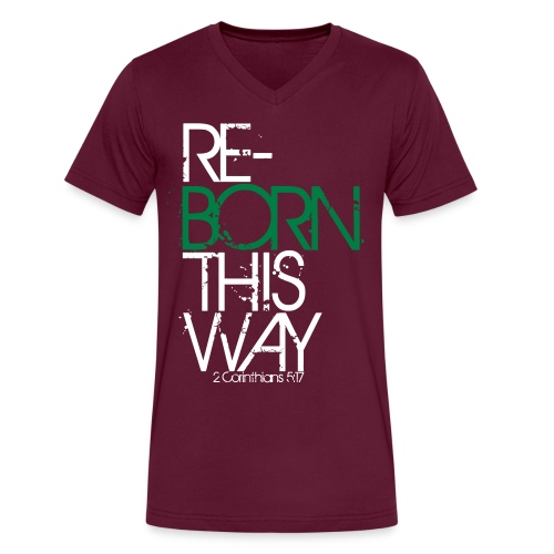 Reborn This Way - Men's V-Neck Grey - Men's V-Neck T-Shirt by Canvas