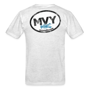 mvyradio giant euro sticker (on back) - Men's T-Shirt