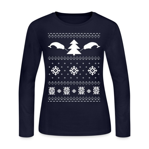 Narwhal Christmas Sweater - Women's Long Sleeve Jersey T-Shirt