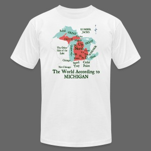 The World According to Michigan - Men's T-Shirt by American Apparel