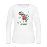 Long Sleeve Shirts ~ Women's Long Sleeve Jersey T-Shirt ~ The World According to Michigan