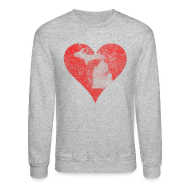 Long Sleeve Shirts ~ Crewneck Sweatshirt ~ Mi Distressed Heart