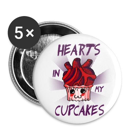 Hearts in my cupcakes - Large Buttons