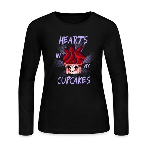 Hearts in my cupcakes - Women's Long Sleeve Jersey T-Shirt