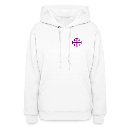 Women's Hooded Sweathirt w/ Purple Jerusalem Cross - Women's Hoodie