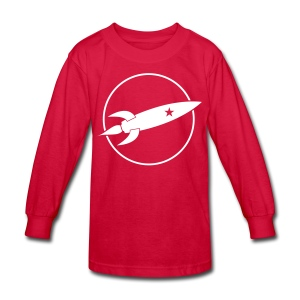 Black and White Rocket - Kids' Long Sleeve T-Shirt
