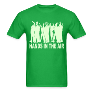 T-Shirts ~ Men's T-Shirt ~ Hands in the Air ravers Glow in the Dark T-shirt