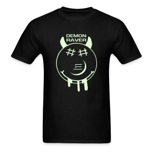 Demon Smiley Face Rave Glow in the Dark T-shirt - Men's T-Shirt