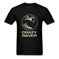 T-Shirts ~ Men's T-Shirt ~ Crazy Raver Smiley Face Glow in the Dark T-shirt