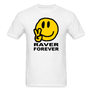 T-Shirts ~ Men's T-Shirt ~ Raver Forever T-shirt featuring a happy smiley face