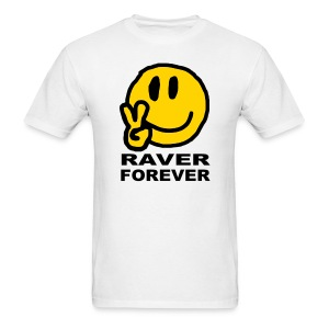 Raver Forever T-shirt featuring a happy smiley face - Men's T-Shirt
