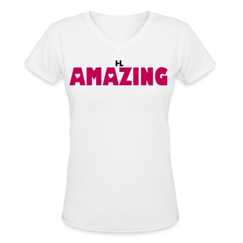 AMAZING QUEEN TEES WHITE/PINK - Women's V-Neck T-Shirt