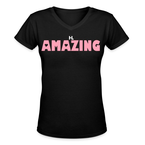 AMAZING QUEEN TEES BLACK/PINK - Women's V-Neck T-Shirt