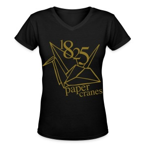 [EH] 1825 Paper Cranes (Metallic Gold) - Women's V-Neck T-Shirt