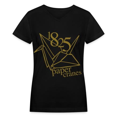[EH] 1825 Paper Cranes (Metallic Gold) - Women's V-Neck T-Shirt