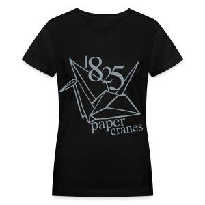 [EH] 1825 Paper Cranes (Metallic Silver) - Women's V-Neck T-Shirt