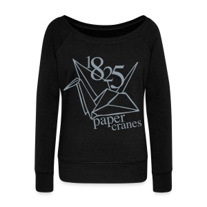 [EH] 1825 Paper Cranes (Metallic Gray) - Women's Wideneck Sweatshirt