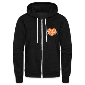 Joyful Vegan Unisex American Apparel Hoodie - Orange heart - Unisex Fleece Zip Hoodie by American Apparel