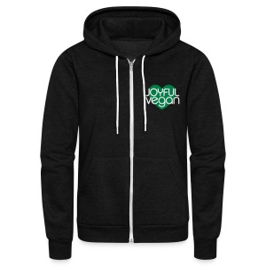 Joyful Vegan Unisex American Apparel Hoodie - Green heart - Unisex Fleece Zip Hoodie by American Apparel