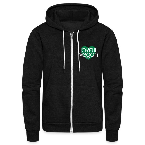 Joyful Vegan Unisex American Apparel Hoodie - Green heart - Unisex Fleece Zip Hoodie