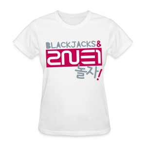 [2NE1] Blackjacks & 2NE1 (Metallic Silver | Front Only) - Women's T-Shirt