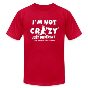 'I'm Not Crazy' Lacrosse Goalie Men's American Apparel T-Shirt - Men's T-Shirt by American Apparel