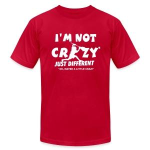 'I'm Not Crazy' Lacrosse Goalie Men's American Apparel T-Shirt - Men's Fine Jersey T-Shirt
