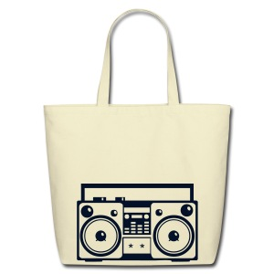 SMASHING   Retro Stereo Boom Box  Large Tote Bag - Eco-Friendly Cotton Tote