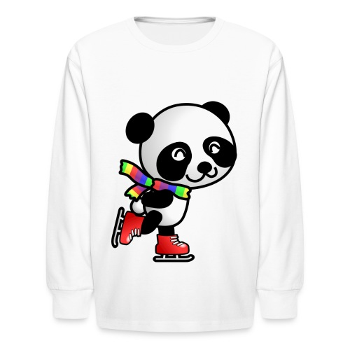 Ice Skating Panda - Kids' Long Sleeve T-Shirt