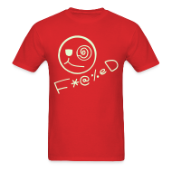 T-Shirts ~ Men's T-Shirt ~ Fucked Smiley Face with Glow in the Dark Print