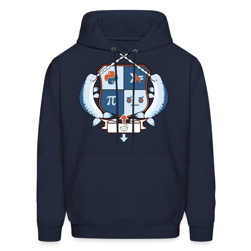 Reddit Coat of Arms: r/python, r/haskell, r/math, and disapproval emoticon - Men's Hoodie