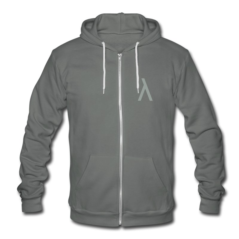 Lambda symbol - Unisex Fleece Zip Hoodie by American Apparel
