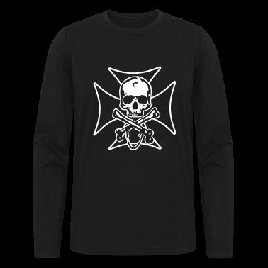 biker cross  skull and crossbones Long Sleeve Shirts