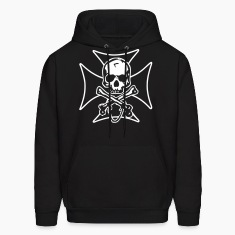 biker cross  skull and crossbones Hoodies