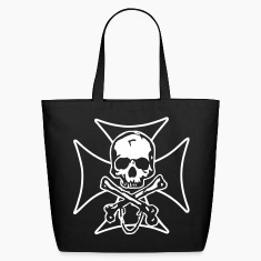 biker cross  skull and crossbones Bags