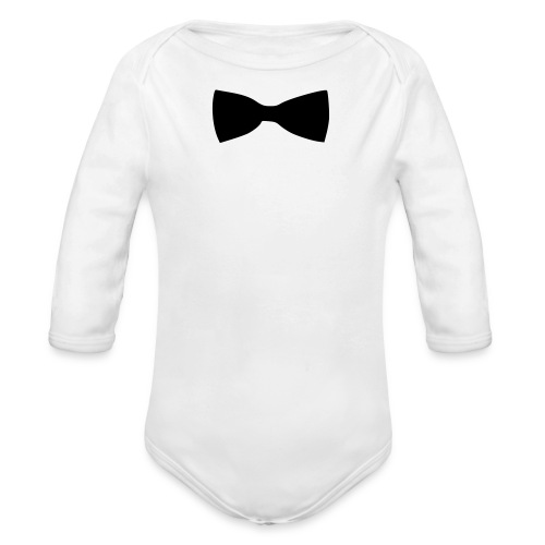 bow tie - Organic Long Sleeve Baby Bodysuit