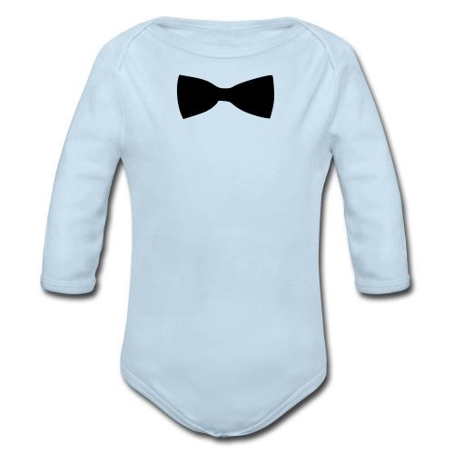 bow tie - Organic Long Sleeve Baby Bodysuit
