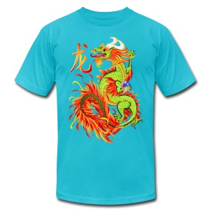Flaming Dragon and Symbol - Men's T-Shirt by American Apparel