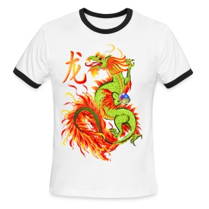 Flaming Dragon and Symbol - Men's Ringer T-Shirt