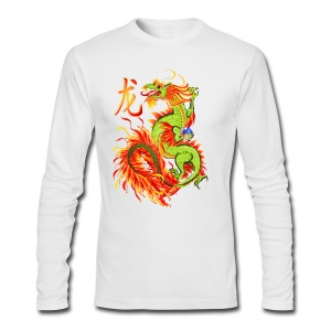 Flaming Dragon and Symbol - Men's Long Sleeve T-Shirt by Next Level