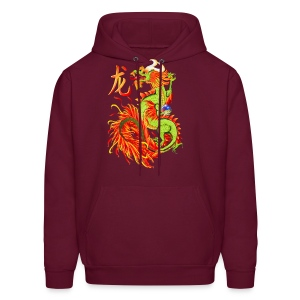 Flaming Dragon and Symbol - Men's Hoodie