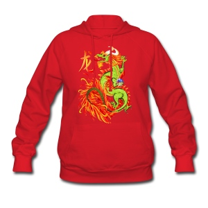 Flaming Dragon and Symbol - Women's Hoodie