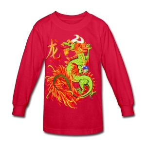 Flaming Dragon and Symbol - Kids' Long Sleeve T-Shirt