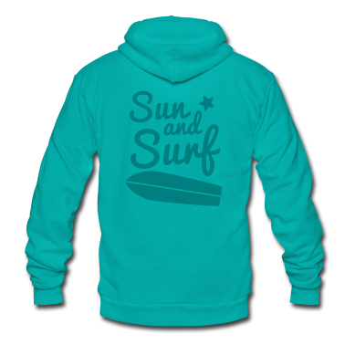 sun and surf with surfboard good for holidays! Zip Hoodies/Jackets