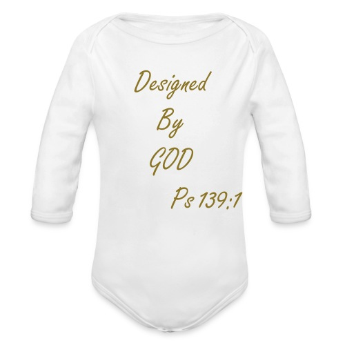Designed By GOD (Gold Long Sleeve) - Organic Long Sleeve Baby Bodysuit