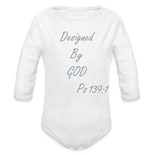 Designed By GOD (Silver Long Sleeve) - Organic Long Sleeve Baby Bodysuit