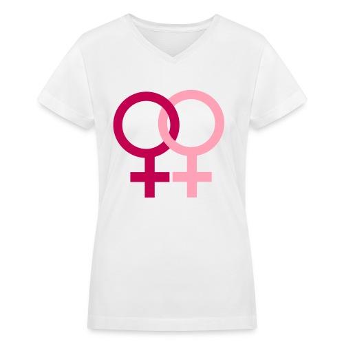 Girls Kissing Girls - Women's V-Neck T-Shirt