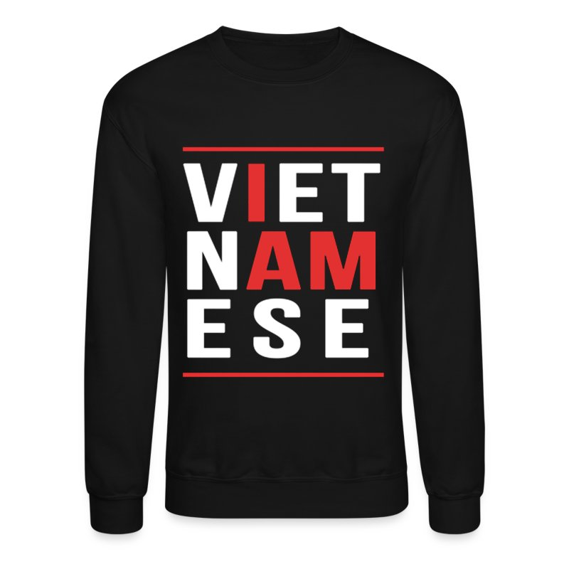 I AM VIETNAMESE (red with bands) Long Sleeve Shirts - Crewneck Sweatshirt